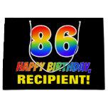 [ Thumbnail: 86th Birthday: Bold, Fun, Simple, Rainbow 86 Gift Bag ]