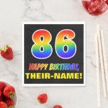 [ Thumbnail: 86th Birthday: Bold, Fun, Simple, Rainbow 86 Napkins ]