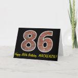 "[ Thumbnail: 86th Birthday - Brick Wall Pattern ""86"" W/ Name Card ]"
