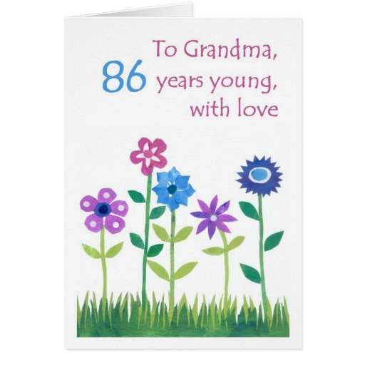 86th birthday card for a grandmother flowers zazzle. Black Bedroom Furniture Sets. Home Design Ideas