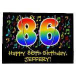 [ Thumbnail: 86th Birthday - Colorful Music Symbols, Rainbow 86 Gift Bag ]
