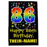 [ Thumbnail: 86th Birthday: Colorful Stars Pattern & Rainbow 86 Gift Bag ]