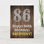 [ Thumbnail: 86th Birthday: Country Western Inspired Look, Name Card ]