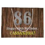 [ Thumbnail: 86th Birthday: Country Western Inspired Look, Name Gift Bag ]