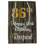 [ Thumbnail: 86th Birthday: Elegant Faux Gold Look #, Faux Wood Gift Bag ]