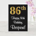 [ Thumbnail: 86th Birthday ~ Elegant Luxurious Faux Gold Look # Card ]