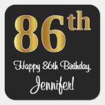 [ Thumbnail: 86th Birthday – Elegant Luxurious Faux Gold Look # Sticker ]