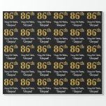 [ Thumbnail: 86th Birthday: Elegant Luxurious Faux Gold Look # Wrapping Paper ]