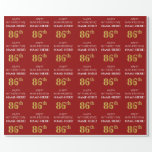 [ Thumbnail: 86th Birthday: Elegant, Red, Faux Gold Look Wrapping Paper ]