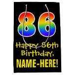 "[ Thumbnail: 86th Birthday: Fun, Bold, Colorful, Rainbow ""86"" Gift Bag ]"