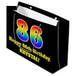 [ Thumbnail: 86th Birthday ~ Fun, Colorful, Vibrant, Rainbow 86 Gift Bag ]