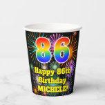 [ Thumbnail: 86th Birthday: Fun Fireworks Pattern + Rainbow 86 ]
