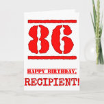 [ Thumbnail: 86th Birthday: Fun, Red Rubber Stamp Inspired Look Card ]