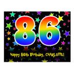 [ Thumbnail: 86th Birthday: Fun Stars Pattern, Rainbow 86, Name Postcard ]