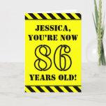 [ Thumbnail: 86th Birthday: Fun Stencil Style Text, Custom Name Card ]