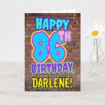 [ Thumbnail: 86th Birthday - Fun, Urban Graffiti Inspired Look Card ]