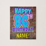 [ Thumbnail: 86th Birthday ~ Fun, Urban Graffiti Inspired Look Jigsaw Puzzle ]