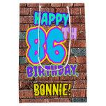 [ Thumbnail: 86th Birthday: Fun, Urban Graffiti Inspired Look Gift Bag ]