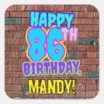 [ Thumbnail: 86th Birthday – Fun, Urban Graffiti Inspired Look Sticker ]