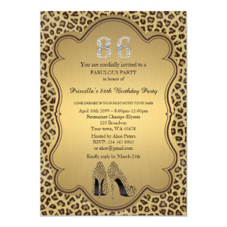 86th Birthday invitation, numbers diamonds,Cheetah Card