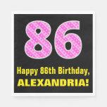 "[ Thumbnail: 86th Birthday: Pink Stripes and Hearts ""86"" + Name Napkins ]"