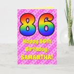 [ Thumbnail: 86th Birthday: Pink Stripes & Hearts, Rainbow # 86 Card ]