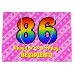 [ Thumbnail: 86th Birthday: Pink Stripes & Hearts, Rainbow # 86 Gift Bag ]