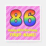[ Thumbnail: 86th Birthday: Pink Stripes & Hearts, Rainbow # 86 Napkins ]