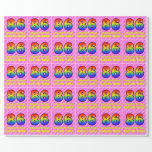[ Thumbnail: 86th Birthday: Pink Stripes & Hearts, Rainbow # 86 Wrapping Paper ]