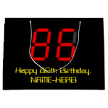 "[ Thumbnail: 86th Birthday: Red Digital Clock Style ""86"" + Name Gift Bag ]"