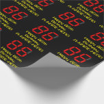 "[ Thumbnail: 86th Birthday: Red Digital Clock Style ""86"" + Name Wrapping Paper ]"
