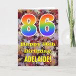 "[ Thumbnail: 86th Birthday; Rustic Autumn Leaves; Rainbow ""86"" Card ]"