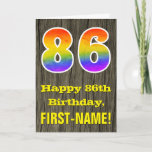 "[ Thumbnail: 86th Birthday: Rustic Faux Wood Look, Rainbow ""86"" Card ]"
