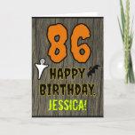 [ Thumbnail: 86th Birthday: Spooky Halloween Theme, Custom Name Card ]