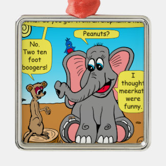 872 elephants and meerkat nose cartoon metal ornament