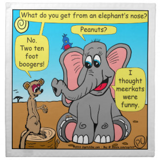 872 elephants and meerkat nose cartoon napkin