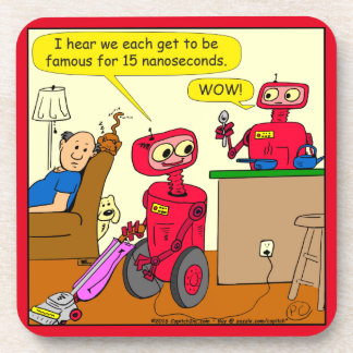 875 15 nano seconds robot cartoon beverage coaster