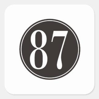 #87 Black Circle Square Sticker