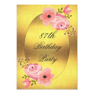 """87.o Falsas flores de la acuarela de la hoja de Invitación 5"""" X 7"""""""