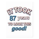 87.os diseños del cumpleaños de los años tarjeta postal