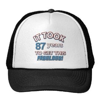 87.os diseños del cumpleaños del año gorras