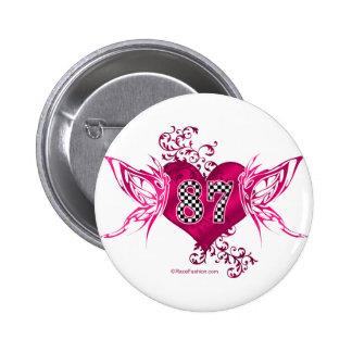 87 racing number butterflies pinback button
