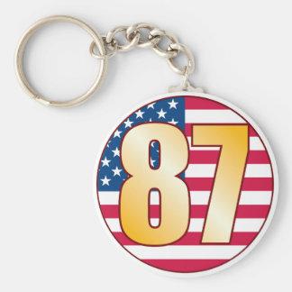 87 USA Gold Basic Round Button Keychain