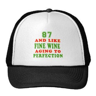 87 y como diseños del cumpleaños del vino fino gorras