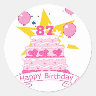 87 Year Old Birthday Cake Classic Round Sticker