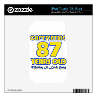 87 YEARS OLD BIRTHDAY DESIGNS SKINS FOR iPod TOUCH 4G