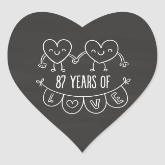 87th Anniversary Gift Chalk Hearts Heart Sticker