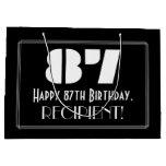 "[ Thumbnail: 87th Birthday ~ Art Deco Inspired Look ""87"" + Name Gift Bag ]"