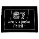 "[ Thumbnail: 87th Birthday — Art Deco Inspired Look ""87"" & Name Gift Bag ]"