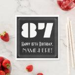 "[ Thumbnail: 87th Birthday: Art Deco Inspired Look ""87"" + Name Napkins ]"
